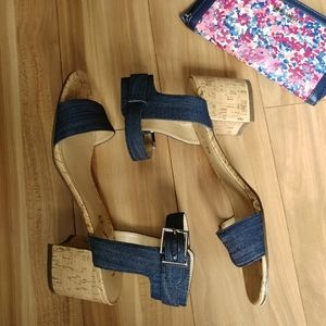 Unisa blue denim chunky block heel sandals